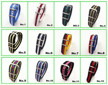 Hot !  Wholesale 10pcs/lot High quality 20MM Nylon Watch band NATO waterproof watch strap fashion wach -44 color available