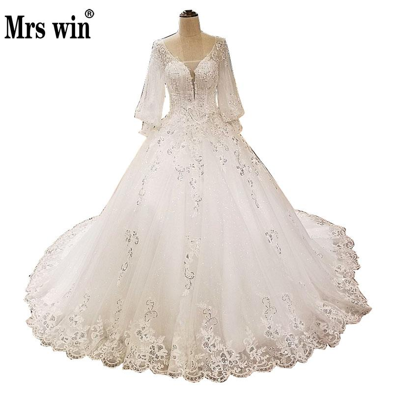 Wedding Dress 2018 New The Bridal Sexy V-neck Luxury Embroidery Sweep Train Ball Gown Puff Sleeve Princess Vestido De Noiva F