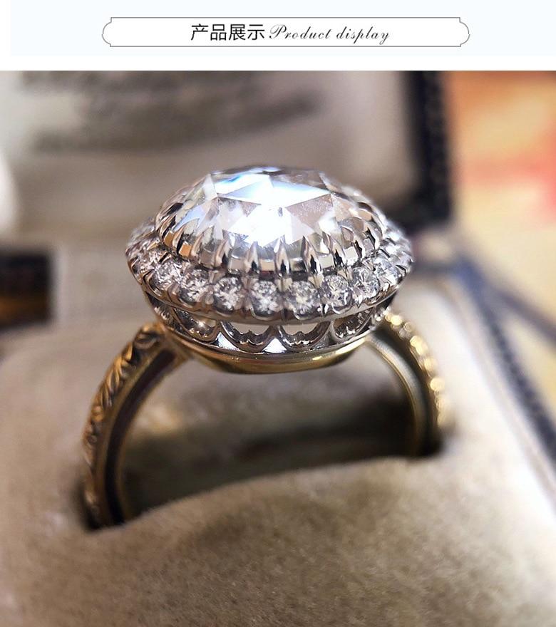 Luxury White Zircon Promise Engagement Ring Vintage Charming Big Stone Wedding Rings For Women Fashion Jewelry