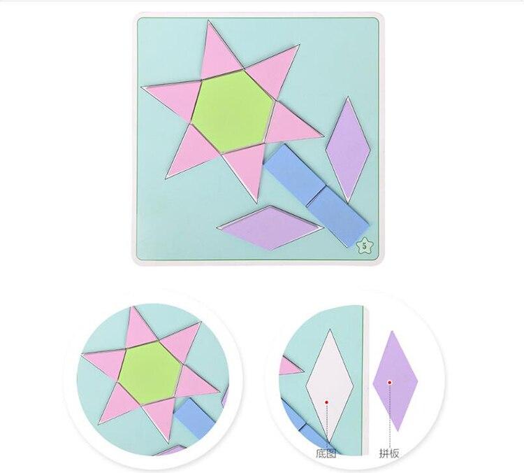 190 pièces coloré en bois créatif Imposition Tangram Puzzle jouet Tetris jeu préscolaire Magination intellectuel éducatif enfant jouet - 3