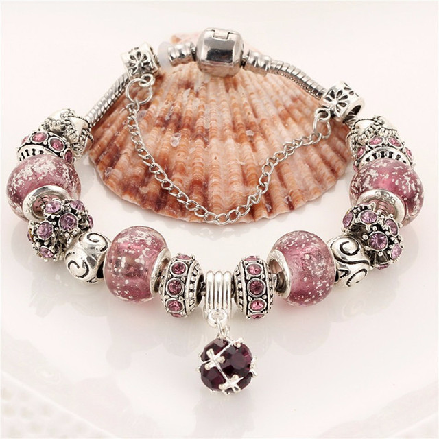 IF ME Vintage DIY Crystal Glass Beads Charms Bracelets For Women Famale Pendant Bracelets & Bangles Pulsera Jewelry Snake Chain 3