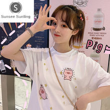 Summer Korean Harajuku Loose Pig Embroidery Women T-shirt Female Net Red White Ins T-Shirt Student Short Sleeve Bottoming Tees(China)
