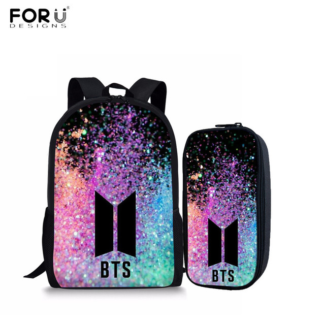 f8e075e2c63 FORUDESIGNS BTS Printing Backpacks Children School Bags for Teenagers Girls  Bookbag School Shoulder Rucksack Set Pencil Case New-in School Bags from  Luggage ...
