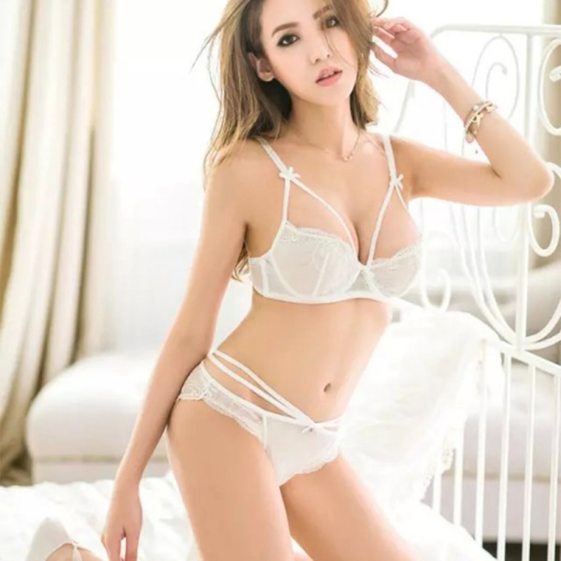 ee41f27f66 Sexy Women Bra Set Thin Lace White Black Bandage Underwear Push Up Bra Sets  Panties Lingerie