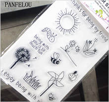PANFELOU 11.3*15.56cm sun rose caterpillar Transparent Silicone Rubber Clear Stamps cartoon for Scrapbooking/DIY  wedding album