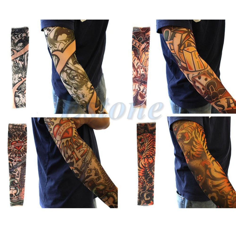 10 Pcs 1 Lot New Nylon Elastic Fake Temporary Tattoo Arm Sleeve Sun Protective Tattoo Print Arm Warmers For Cool Men Women
