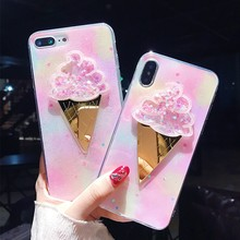 Quicksand Case For iphone 6 s 6s plus iphone 7 8 Plus 3D Glitter Ice Cream Silicone Case For iphone XR XS Max iphone 8 X Cover стоимость
