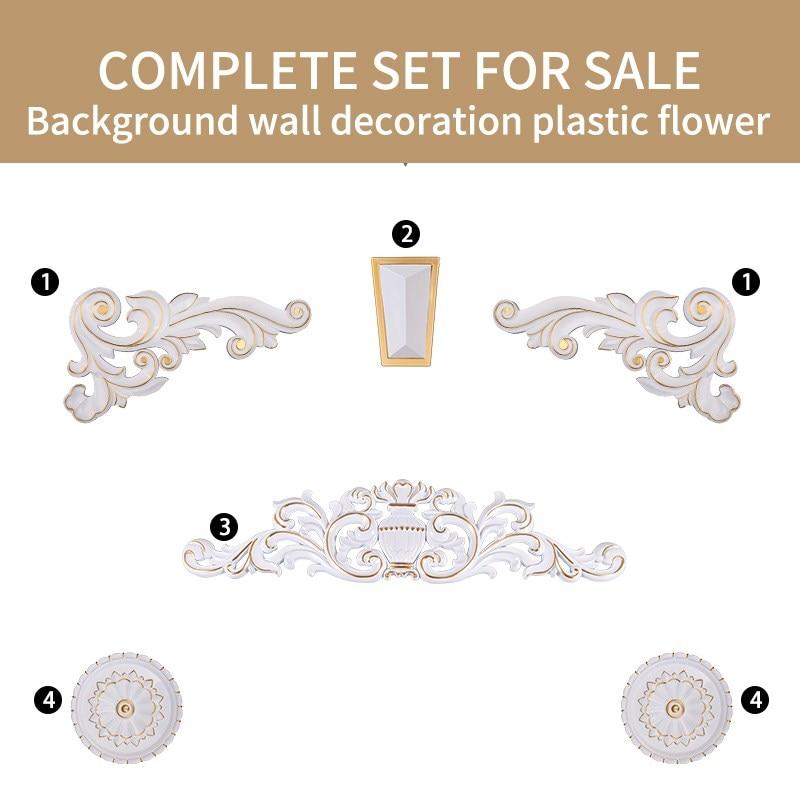 European Roman Colum Background Wall Decoration Corner Flower Furniture Applique Art Home Accessories Imitation Wood Carved DIY