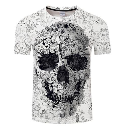 Camiseta blanca 3D calavera 2