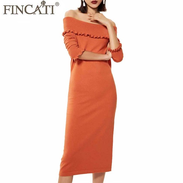 Knitted Long Dress Women 2018 Winter Spring Cashmere Blending Sexy Slash  Neck Ruffled Cuff Slim Fashion Vestidos de Festa e21c5d4a4289