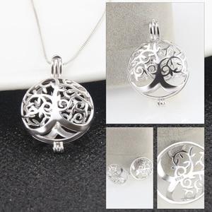 Image 3 - CLUCI 3 pièces rond argent arbre de vie femmes pendentif pour collier fabrication de bijoux 925 en argent Sterling perle pendentif bijoux SC303SB