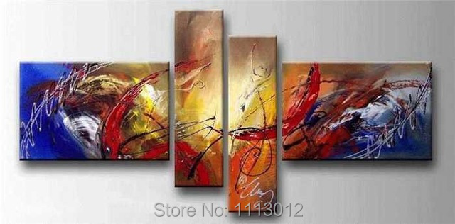 Hand-painted Modern Red Yellow Line Letter Flower Oil Painting On Canvas 4 Panel Arts Sets Home Wall Decor For Living Room Sale