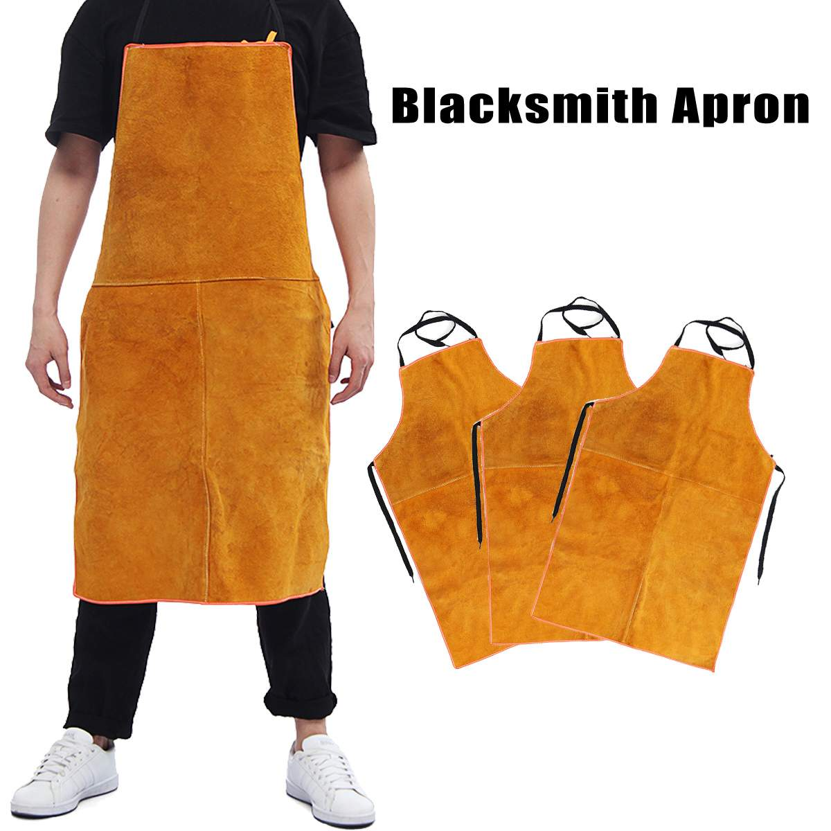 Full Cowhide Leather Electric Welding Apron Bib Blacksmith Apron Yellow Electric Welding Safety Clothing