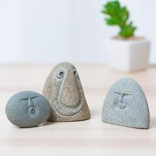 3 humor diferente rosto figura de pedra estátua artesanato arte casa decoração do hotel acessórios presente geometria ornamento hogar moderno
