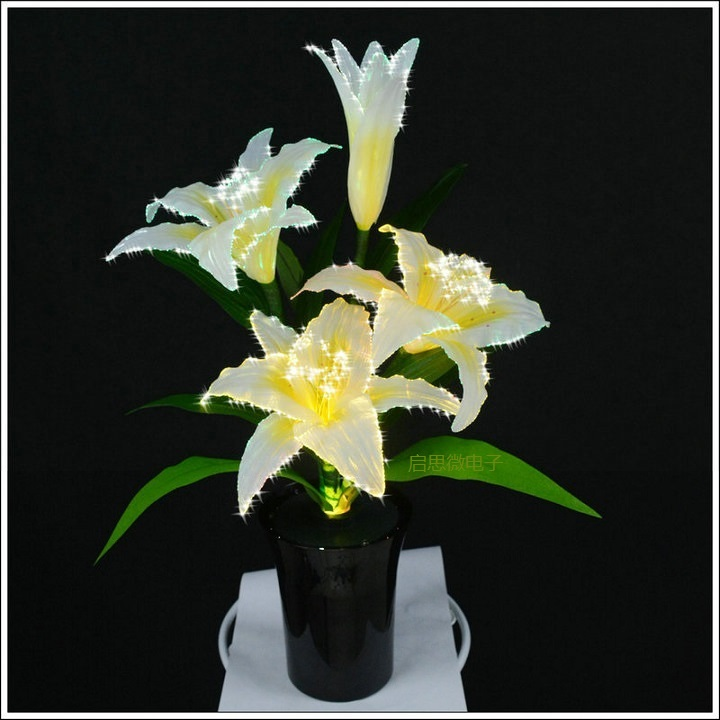 LED Silk Lily Handmade Artificial Flower changeable emit color Wedding Decoration DIY girlfriend gift Led Flower artificial flower with 3pcs flower