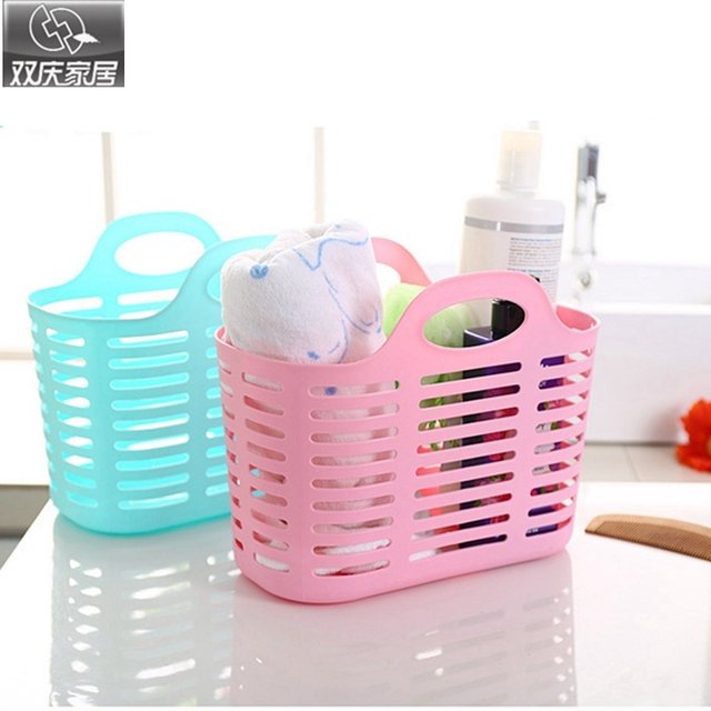 Storage Basket New Colored Fashion Hollow Plastic Portable Kitchen Bathroom  Bath Basket Toiletries