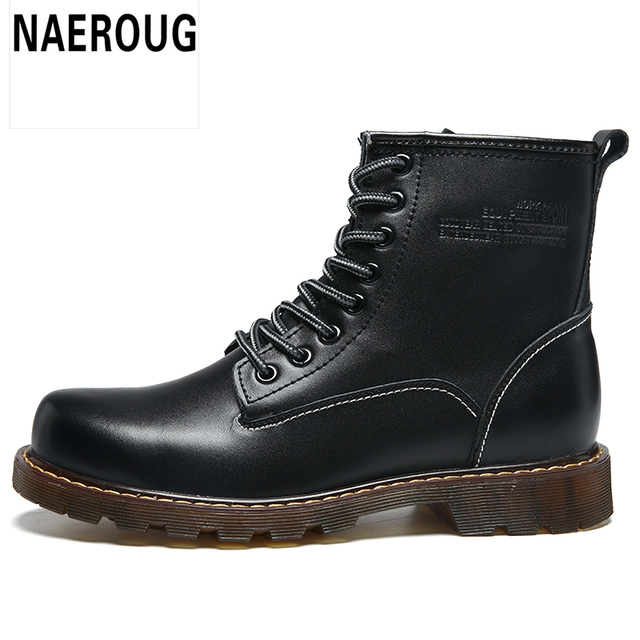 New MADING Couple Men Shoes Fashion Genuine Leather Martin Boots Martens Male Brand Shoes Dr Boots Four Seasons Plus Eur Size