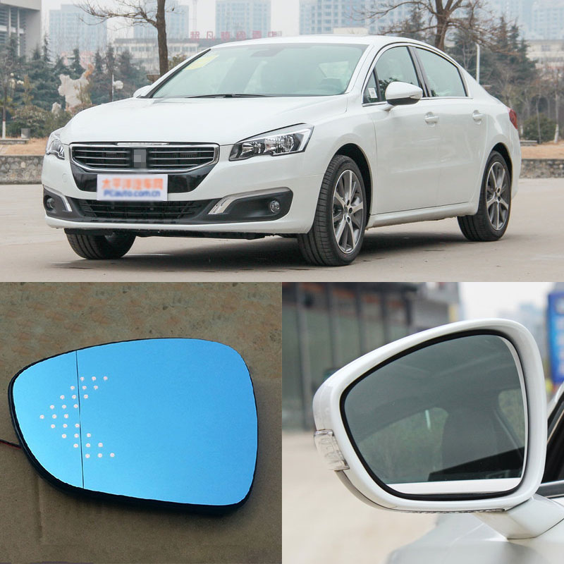 Brand New Car Rearview Mirror Blue Glasses LED Turning Signal Light with Heating For Peugeot 508 for volkswagen sagitar brand new car rearview mirror blue glasses led turning signal light with heating