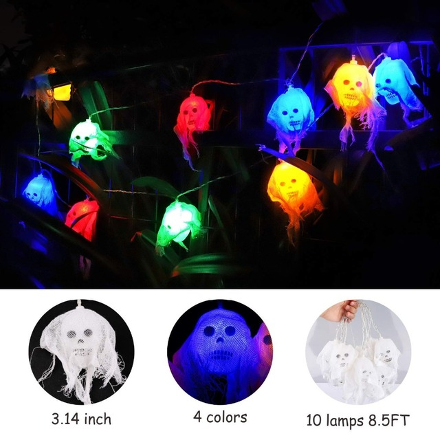 dbf halloween string lights 2 5m10 big led waterproof veil ghost