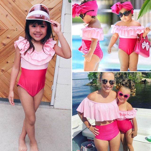 00f7041ba9 Family Matching Mom And Daughter Outfits Women Baby Girls Swimwear Swimsuit  Off Shoulder Beachwear Summer Bikini Suits