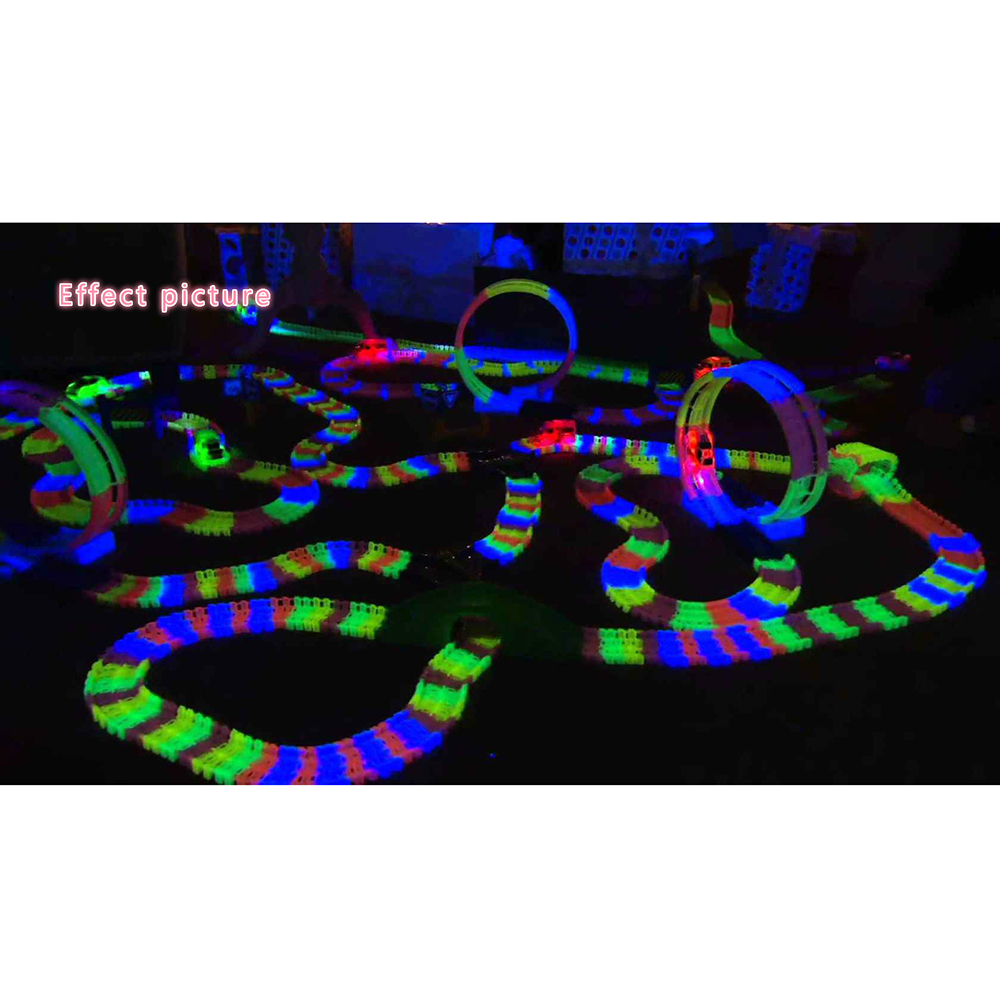 600pcs Track 1pcs Led Car Racing Glowing Race Track Bend Flex Electronic Rail Glow Race Car Toy Roller Coaster Toy For Kids 280pcs miraculous race track bend flex car toy racing track set diy track electric rail car model set gift for kids