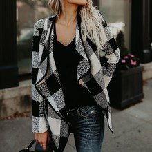 Осень 2017 зимняя куртка Для женщин Пиджаки для женщин пальто кардиган в клетку с длинными рукавами Повседневное нагрудные нерегулярные Шерстяное Пальто Femininas Топы корректирующие верхняя одежда