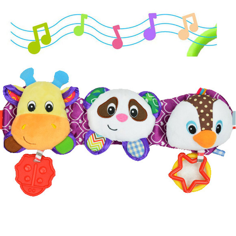 33cm musical soft Baby toys three cartoon animals Infant toddler Kid gift stuffed plush baby car bed hanging strollers doll