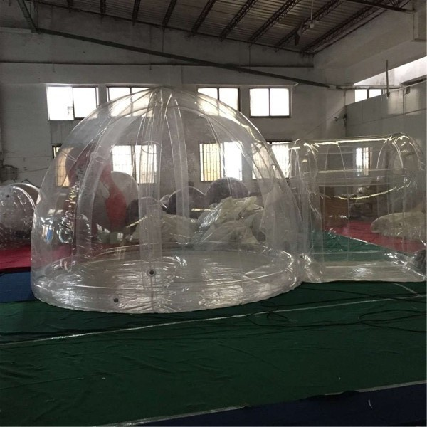 airtight door frame 535m inflatable bubble lawn tent with 2pcs blowers and pvc bag and repair kit