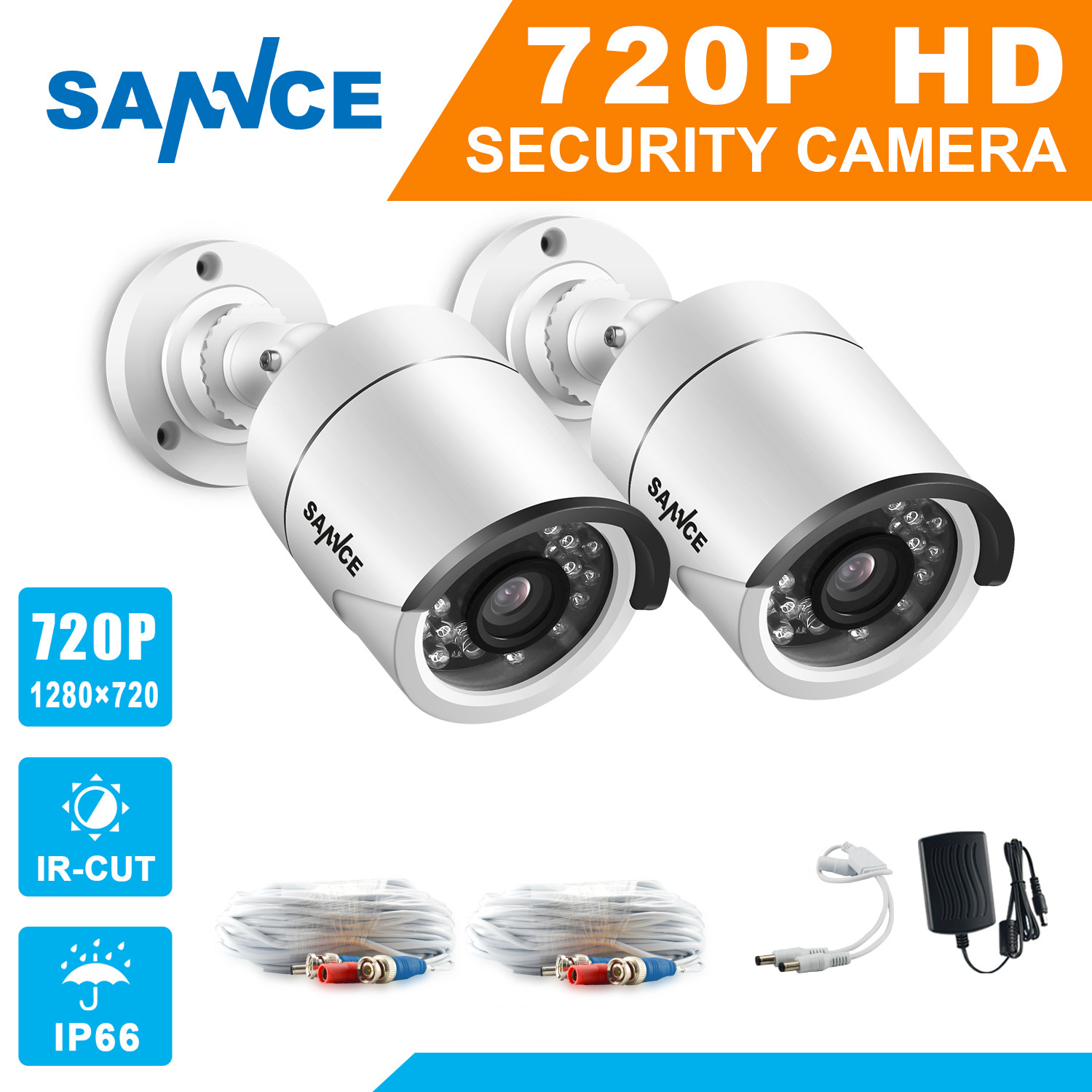 SANNCE AHD 720P 2PCS 1200TVL Bullet CCTV Camera Suite 1.0MP Waterproof IR-Cut Night Vision Camera For Surveillance System Kit BE