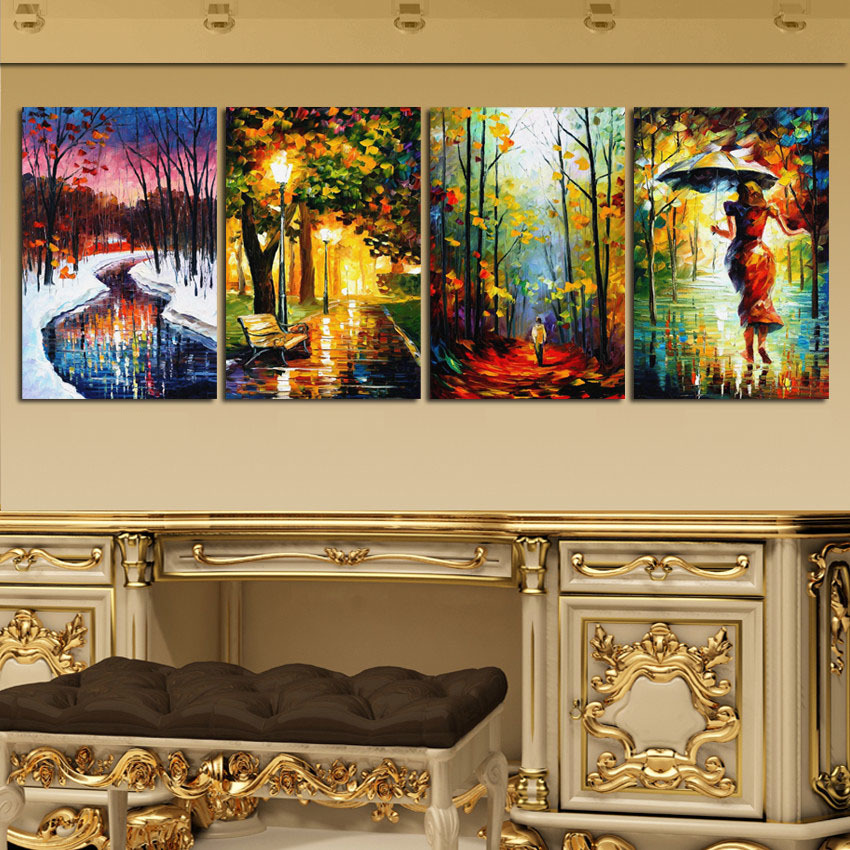 Abstract Decor Painting Light Scenes Canvas Print Landscape Street Night Wall Pictures For