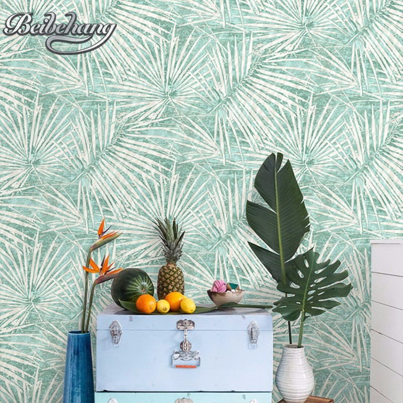 Beibehang Modern Nordic palm tree leaves bedroom living room television background 3d wallpaper papel de parede wallpaper roll 10 x 10ft christmas theme photography backdrops vinyl prop photo studio background cm261