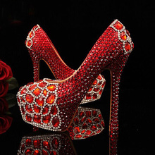 Newest round toe red crystals with Red diamonds rhinestones bridal wedding shoes Red Beautiful High-heeled Prom Shoes Plus size