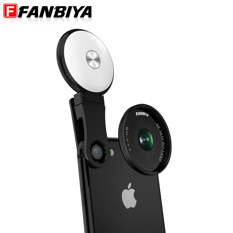FANBIYA Cell Phone Lens LED Fill Light Ring Beauty Selfie Flash Lens+4K 20x Macro Lens for iphone 7 7plus Smartphone Camera Lens