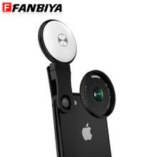 Fanbiya сотовый телефон объектив LED заполняющий свет кольцо Красота Selfie Flash объектив + 4 К 20x макрообъектив для iPhone 7 7 плюс смартфон Объектив для камеры