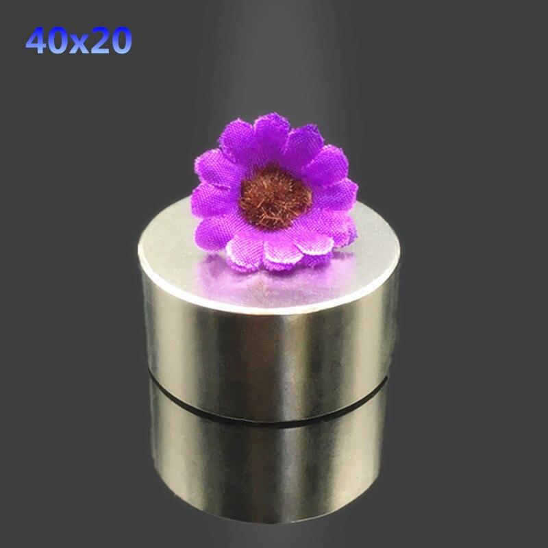 1 stücke neodym-magnet 40x20mm super starke runde disc Rare earth leistungsstarke gallium metallmagnete lautsprecher 40*20mm