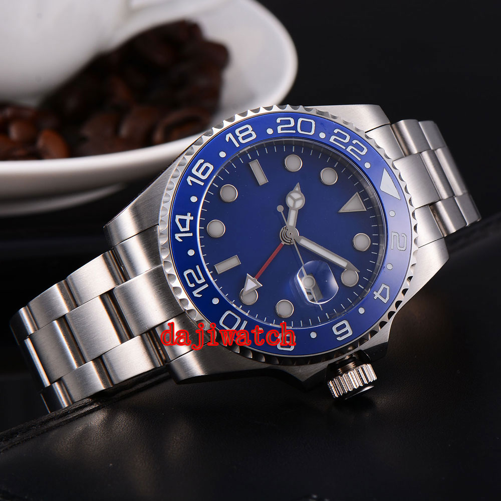 parnis 43mm blue dial stainless steel case Sapphire glass calendar GMT mechanical automatic watch men Dual time zone цена 2017