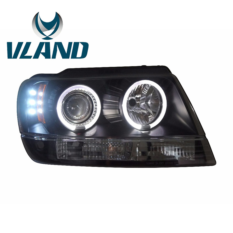 VLAND Factory For LED Headlamp For Grand Cherokee 1999 2004 LED Headlight Xenon HID Front Light LED DRL Angel Eyes With H7/D2H