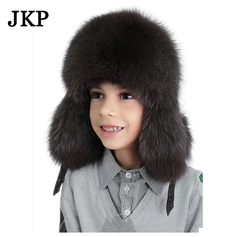 33752fe516fe7 kids Children's hats real fox fur Trapper Hat with pom poms winter ear  flaps bomber hats for boys Russian Ushanka caps-in Holidays Costumes from  Novelty ...