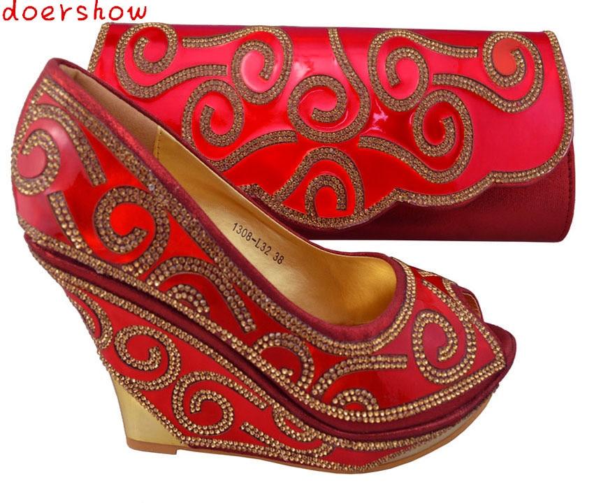 doershow High Quality African Wedding High Heel And Bag Set Top Fashion Rhinestone Italian Shoes And Matching Bags Set !ZX1-68 канва с рисунком для вышивания бисером hobby
