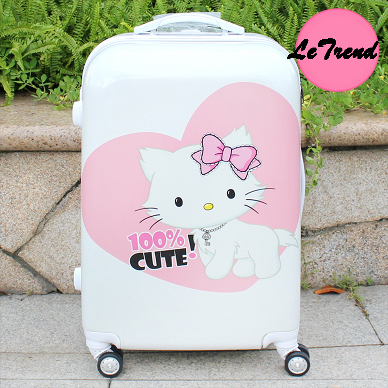 Letrend  Cute Cartoon Kids Rolling Luggage Spinner Student Travel Bag Wheels Suitcase Trolley 20 inch Carry On Password Trunk vintage suitcase 20 26 pu leather travel suitcase scratch resistant rolling luggage bags suitcase with tsa lock