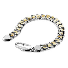 Wholesale man jewelry gifts. Personality gold and silver mixed color bracelet. Fashion solid 925 sterling silver men's bracelet