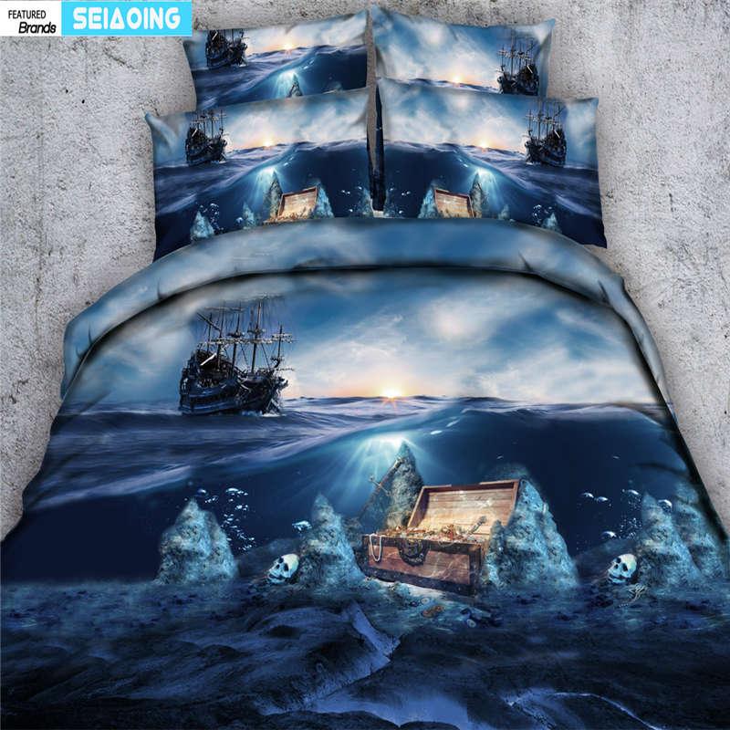 3D Sailing Boat Duvet Cover Bedding Set Pillowcases Comforter Cover Bedclothes