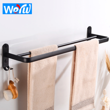 Double Towel Bar Holder with Hook Aluminum Wall Mounted Bathroom Towel Rack Black Decorative Restroom Clothes Towel Rail Hanger