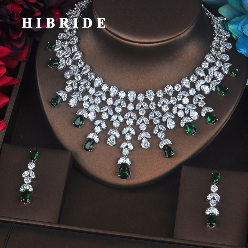 HIBRIDE New Design Clear Brilliant Green Water Drop Cubic Zirconia Women Jewelry Sets Wedding Bride Dress
