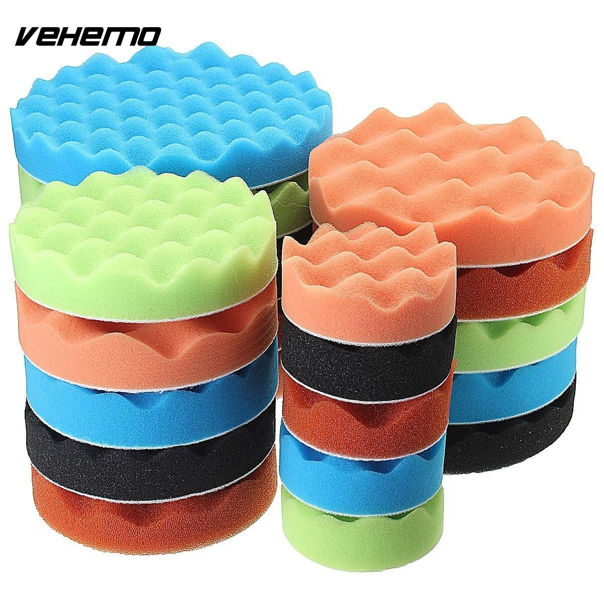 VEHEMO 19 PCS 80mm Car Sponge Buff Polishing Pad Set For Car Polisher With Waxing M10 Drill Adapter Car-Styling Cleaning