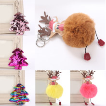 Venda 1 pc Pompom pele Hairball Natal alce Keychain 2018 Nova Árvore de Natal Paillette Cadeias Chave Do Carro(China)
