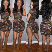 2018 Fashion Women Summer Dress Short Sleeve Sexy Mini Dresses Green Camouflage Print Midi Woman Vestidos S -Xl
