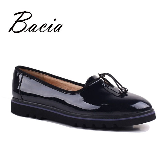 Bacia 2017 Newest Women Genuine Leather Shoes Basic Round Toe Flats Handmade High Quality Shoes Casual Solid Slip-on Flats VE007