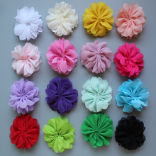 2.8double layers Chiffon Fabric Flowers without headband  girls hair accessories diy material 100pcs/lot free shipping