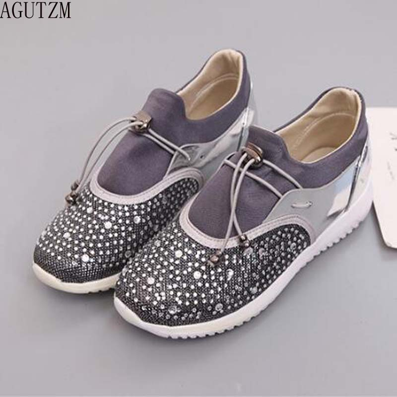 AGUTZM Women Flat Shoes Breathable Ladies Leather Shoes Spring Crystal BlingCasual Slip on Women Shoes Causal Shoes Women V217